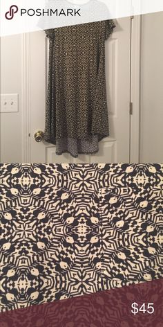 Carly Dress Cream/pale yellow background with black pattern. Worn once and washed per LLR instructions. LuLaRoe Dresses