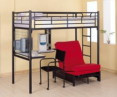 Coaster Fine Furniture 2209 Metal Bunk Bed with Futon/Desk/Chair and CD Rack, Black Finish This twin workstation loft bunk features full length guard rails for Twin Futon, Futon Bunk Bed, Loft Bunk Beds, Bunk Bed With Desk, Futon Chair, Metal Bunk Beds, Kids Bunk Beds, Desk Chair, Bed Couch