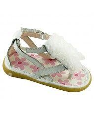 Wee Squeak Baby Toddler Girls White Strap Ruffle Sandals 3-12