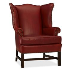 Pottery Barn Thatcher Leather Wingback Chair (1,740 CAD) ❤ liked on Polyvore featuring home, furniture, chairs, accent chairs, leather armchair, wing back chairs, pottery barn arm chair, wing-back chair and over sized chair