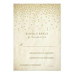 Vintage Gold Confetti Elegant Wedding RSVP Cards