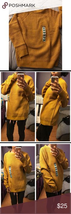 "Mustard Yellow Knit Sweater Medium PLEASE READ ENTIRE DESCRIPTION: Super warm knit sweater with crew neckline. Also available in grey, maroon & mustard yellow in men's Medium & Small.  This is a Men's size Medium boutique brand new with tags sweater. I am modeling it as a slouchy ""boyfriend"" style or ""oversized fit"" on a girl. (I am 5'2 and 98 lbs). My regular size in women's sweaters is S/XS or a size 2 (I'm putting this here for reference so you can get an idea on how this would fit on you…"