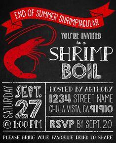 shrimp boil invitation - seafood crab crawfish chalkboard