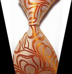 New Men's Orange Floral 100% Silk JACQUARD WOVEN Suits Tie Necktie D93