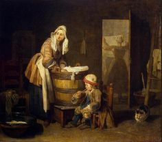 •The Laundress by Jean Siméon Chardin, 1730s.    Notice the child is wearing a pudding cap - a protective hat worn by 18th century children when they were learning to walk.  He sits on a small chair, blowing a bubble while his mother scrubs her laundry. ~LMB
