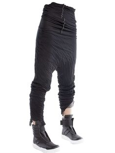 DOUBLE LAYER COTTON JERSEY TROUSERS
