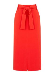 Warehouse, BELTED SKIRT Bright Red 0