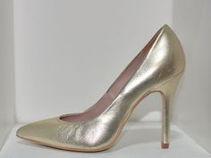 gold  high heel court shoes