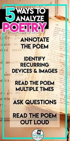 5 Ways to Analyze Poetry in the Secondary ELA Classroom Teaching Poetry, Writing Poetry, Teaching Writing, Student Teaching, Teaching Ideas, Middle School Ela, Middle School English, English Class, 6th Grade Ela