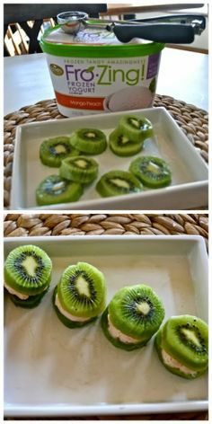 Kiwi and Frozen Yogurt Sandwiches, I'd probably use a toothpick though, kiwi can be slippery...Kira would love these!