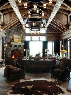 A rustic living room