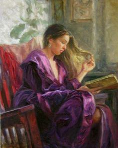 Reading and Art: Miriam Briks, Lost in a story.  Distractedly playing with her hair as she reads...