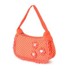 Kids Coral Heart Print and Crochet Handbag   Claire's