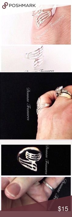 ❤️Angel Wings Ring The angel wings on this ring come together to form this delicate looking ring. Made of nickel free silver alloy. A beautiful piece! Jewelry Rings