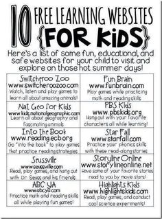 Learning Websites for Kids: 10 Free Online Websites for Children - http://www.achildwithneeds.com/parenting/learning-websites-for-kids/