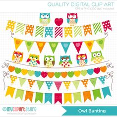 Bunting Flags / Banners - Owls Clip Art / Digital Clipart - Instant Download