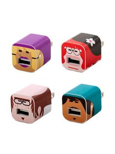 Whooz - iPhone/iPod Character Set of 4 Charger Labels   VAULT