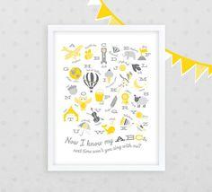Yellow and Grey Modern Illustrated Alphabet Nursery Art Print  ///  16x20 Giclee Print  /// Baby Shower Gift