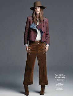 Joséphine Le Tutour by Steven Pan for Glamour France April 2015 - GUCCI pants, CHANEL tweed coat