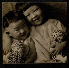 Two children with two dolls, 1932 by Ogawa Gesshu