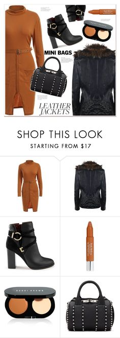 """cool girl  style"" by mycherryblossom ❤ liked on Polyvore featuring Miss Selfridge, Trish McEvoy, Bobbi Brown Cosmetics, Alexander Wang, leatherjackets and minibags"
