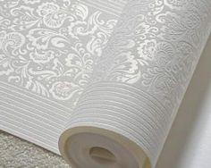Vzorovaná textilná reliéfna tapeta na stenu v bielej farbe Toilet Paper, Stencil, Wallpaper, Stenciled Table, Wallpapers, Stenciling, Toilet Paper Roll