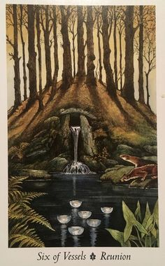 """Daily Angel Oracle Card: Six Of Vessels, from the Wild Wood Tarot card deck, by Mark Ryan and John Matthews, artwork by Will Worthington Six Of Vessels: """"Reunion"""" Card Description: & Tarot Card Decks, Tarot Cards, Wildwood Tarot, The Hierophant, Angel Cards, Tarot Readers, Oracle Cards, Deck Of Cards, Magick"""