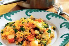 Kijk wat een lekker recept ik heb gevonden op Allerhande! 20-minuten paella met vis