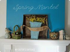 Spring Mantle Inspiration using robin egg's blue!  My Sister's Suitcase #mantels #diy