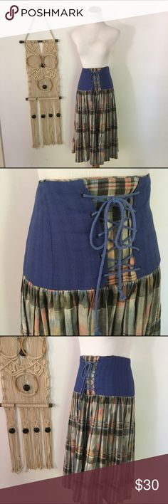 Vintage 1970s Corset Skirt Plaid skirt with lace up waist. Made in Germany, dirndl style. I love it with a basic tank or retro tee! 32 in. waist. Vintage Skirts