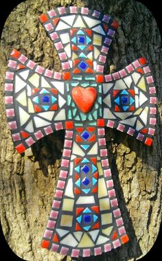 Mosaic cross *Angel Heart by PrayingMantis MosaicMagik