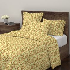 Wyandotte Duvet Cover featuring Physalis on light yellow background by alenushka | Roostery Home Decor