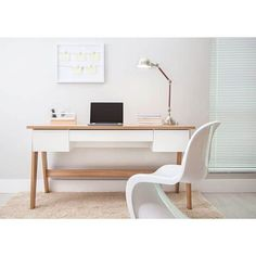 Modern Office Desk with 3 Drawers - Hanover/Off White