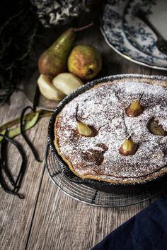 Twigg studios: poached pear brownie tart.