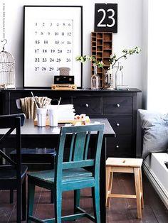 Ikea Livet Hemma {black and white dining room /  study}