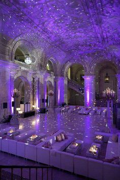 High ceiling venue suits the best for this kind of event, since we are using darker shades of purple to decorate the venue. Also light purple lights (on the branches) will bring an unique touch to make this venue very beautiful!