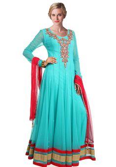 Aqua Blue Net Readymade Abaya Style Churidar Kameez
