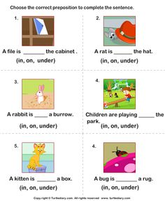 A collection of English ESL worksheets for home learning, online practice, distance learning and English classes to teach about prepositions, prepositions. Fun learning online worksheets for Kindergarten, online english printable worksheets. English Prepositions, English Worksheets For Kids, English Lessons For Kids, Kids English, 1st Grade Worksheets, Reading Worksheets, Kindergarten Worksheets, Learn English, Printable Worksheets