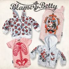 Cute baby clothes from Blame Betty but he would never be allowed to rock these