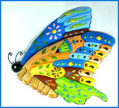 Hand Painted Metal Butterfly Wall Hanging, Colorful Whimsical Art, Funky Art, Metal Wall Art, Decorative Home Decor - J-904-BL-GL by TropicAccents on Etsy