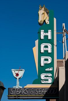 Hap's Steak and Seafood ~ Retro Neon Sign. Pleasanton, California