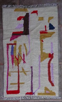 :: Wool rugs - Beni Ourain Azilal and Ourika, rug n° : - 250 cm x 150 cm Moroccan Berber Rug, Wool Rugs, Beni Ourain, Tribal Art, Marrakech, Carpet, Kids Rugs, Wool Area Rugs, Wool Rug