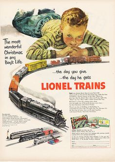 Large Antique 1951 Lionel Trains Magazine Print Ad - Approx 11 x 14 - Suitable for framing Old Advertisements, Retro Advertising, Retro Ads, Vintage Ads, Vintage Prints, Vintage Posters, Advertising Signs, Lionel Train Sets, Model Train Layouts