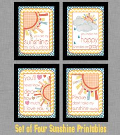 Adorable You Are My Sunshine  Set of Four by LeslieLovePrints,