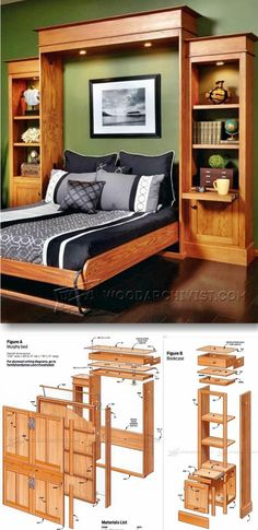 Build Murphy Bed Furniture Plans and Projects WoodArchivist com Small Woodworking Projects, Woodworking Furniture, Woodworking Plans, Popular Woodworking, Woodworking Magazine, Woodworking Skills, Woodworking Classes, Furniture Projects, Furniture Plans