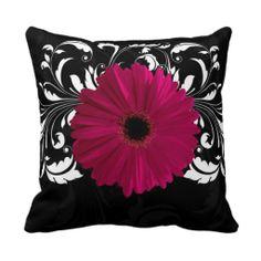 Fuchsia, Black/White Gerbera Daisy Throw Pillows http://www.zazzle.com/fuchsia_black_white_gerbera_daisy_throw_pillows-189689828522716276?rf=238282136580680600