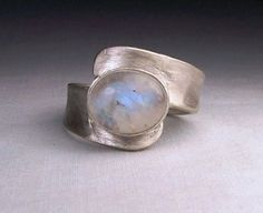 Contemporary brushed sterling silver and moonstone ring