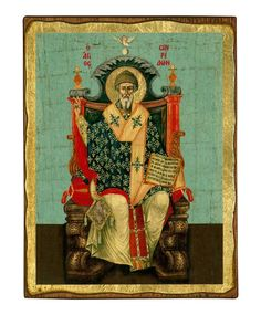 Saint Spyridon - Seriograph icon crafted in canvas with colored background on aged natural wood. The Protector, Religious Icons, Byzantine, Priest, Word Of God, Natural Wood, Christianity, Saints, Age