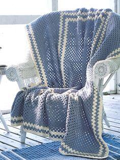 Blue Afghan | Yarn | Free Knitting Patterns | Crochet Patterns | Yarnspirations