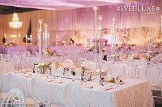 WedLuxe: all-white #decor mixes with pretty pink uplighting and blush floral arrangements at this must-see Toronto #wedding